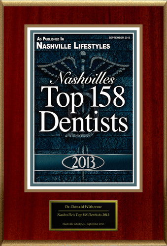 "Dr. Donald Witherow Selected For ""Nashville's Top 158 Dentists 2013"".  (PRNewsFoto/American ..."