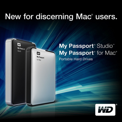 WD's My Passport(R) Studio(TM) and My Passport for Mac(R) Portable Hard Drives Combine High-Performance and Svelte Design.  (PRNewsFoto/Western Digital Technologies)