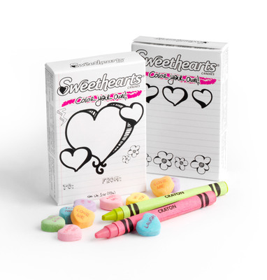 """New England Confectionery Company (NECCO), the maker of a long-time Valentine candy favorite, Sweethearts, launches a new """"Color Your Own"""" packaging and urges kids to submit their Sweethearts designs in the company's first """"Color Your Own"""" Valentine's Day contest. (PRNewsFoto/The New England Confectionery Company (NECCO)) (PRNewsFoto/NEW ENGLAND CONFECTIONERY CO.)"""