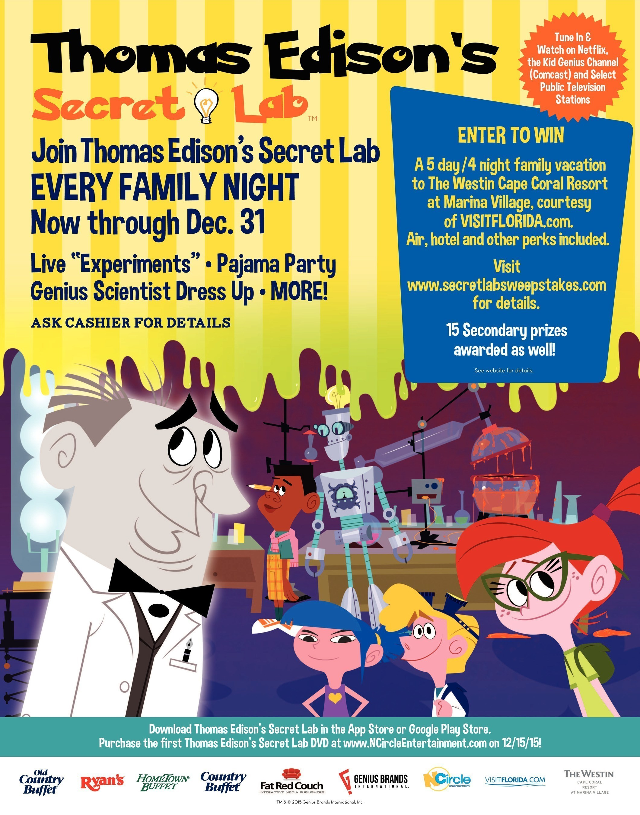Ovation Brands® Restaurants Introduce Science-Filled Family Nights With Thomas Edison's Secret Lab