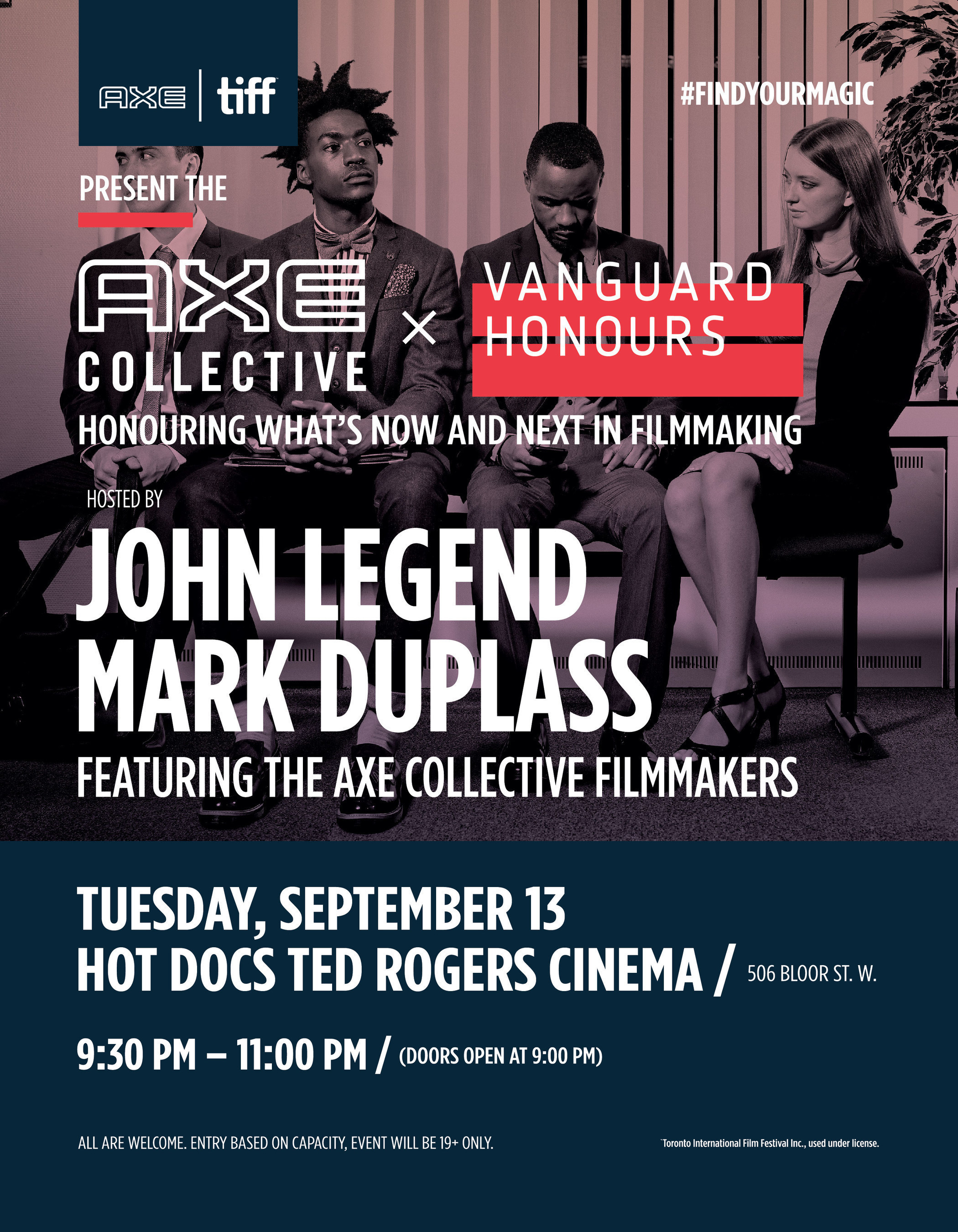 John Legend, Mark Duplass and AXE' Team Up for the AXE' Collective Vanguard Honours During the Toronto International Film Festival'
