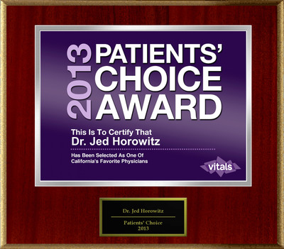 Dr. Jed Horowitz MD FACS of Newport Beach, CA Named a Patients' Choice Award Winner for 2013.  (PRNewsFoto/American Registry)