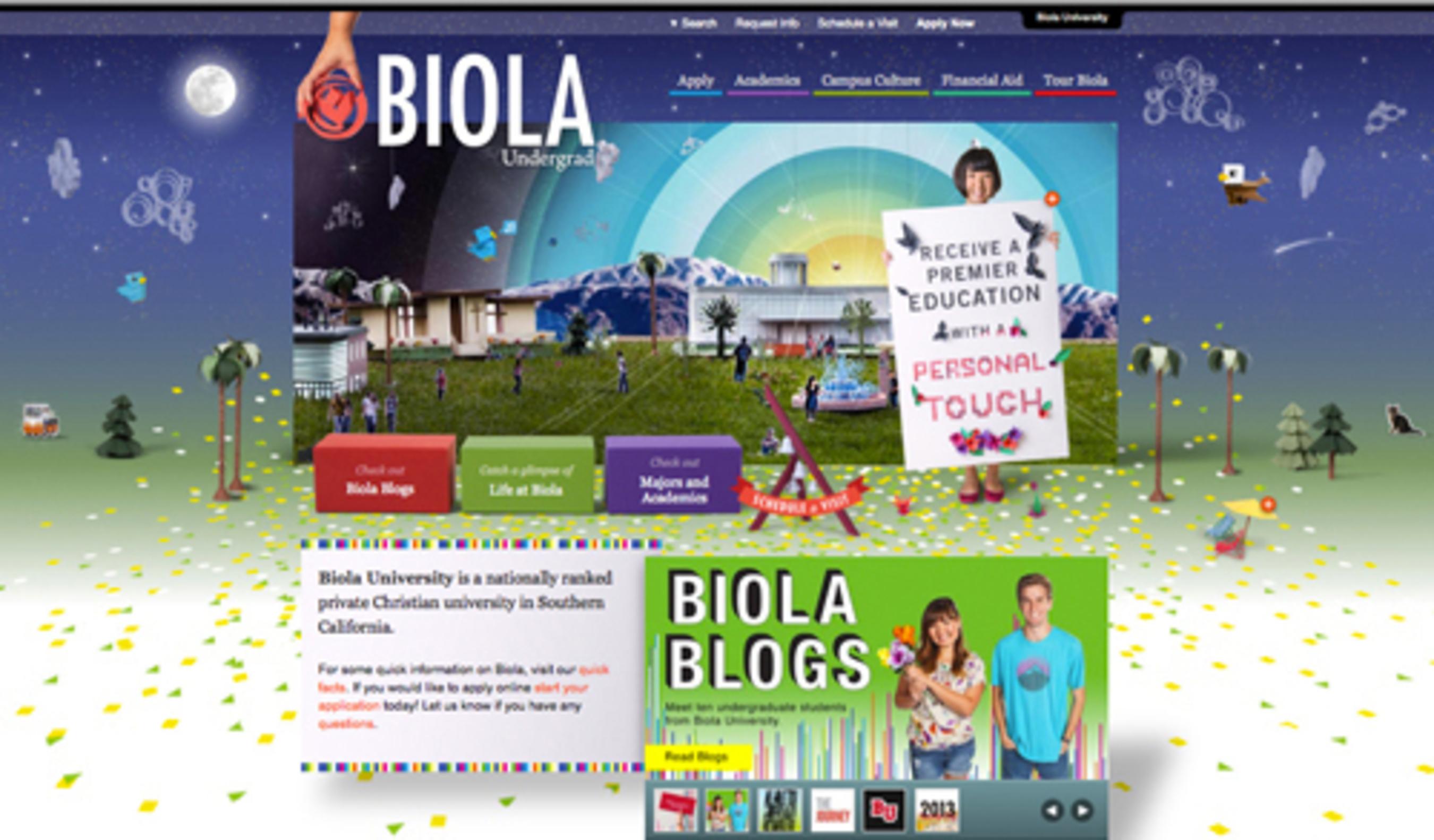 Biola University Website.  (PRNewsFoto/WebDesignDegreeCenter.org)
