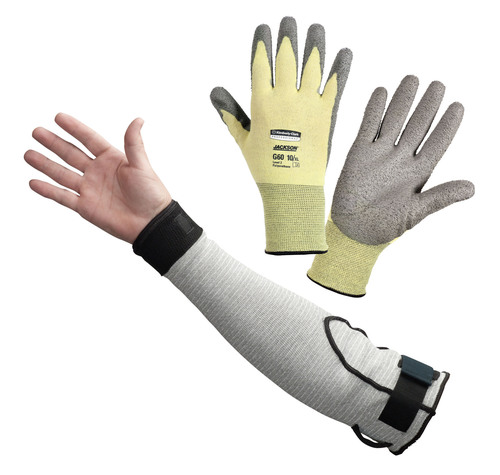 Jackson Safety G60 Level 2 Polyurethane Coated Cut Glove and G60 Level 5 Cut Resistant Sleeve.(PRNewsFoto/Kimberly-Clark Professional)