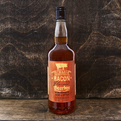 "Ol' Major Bacon Bourbon, the first real bacon infused award-winning bourbon in the USA.  ""Everything is better with bacon!"""