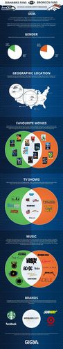 Gigya, the connected consumer management suite, examines the similarities and differences between fans of the Seattle Seahawks and the Denver Broncos, the opposing teams of the 2014 Super Bowl, based on their Facebook profile information to develop their social media identity breakdown. (PRNewsFoto/Gigya)