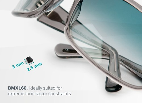 BMX160 - ideally suited for extreme form-factor constraints / The tiny power-efficient 9-axis sensor from Bosch Sensortec offers an ideal solution for wearable applications, such as smart glasses. The BMX160 is housed in a compact 2.5 x 3.0 x 0.95 mm3 package, the smallest 9-axis motion sensor in the industry. (PRNewsFoto/Bosch Sensortec)