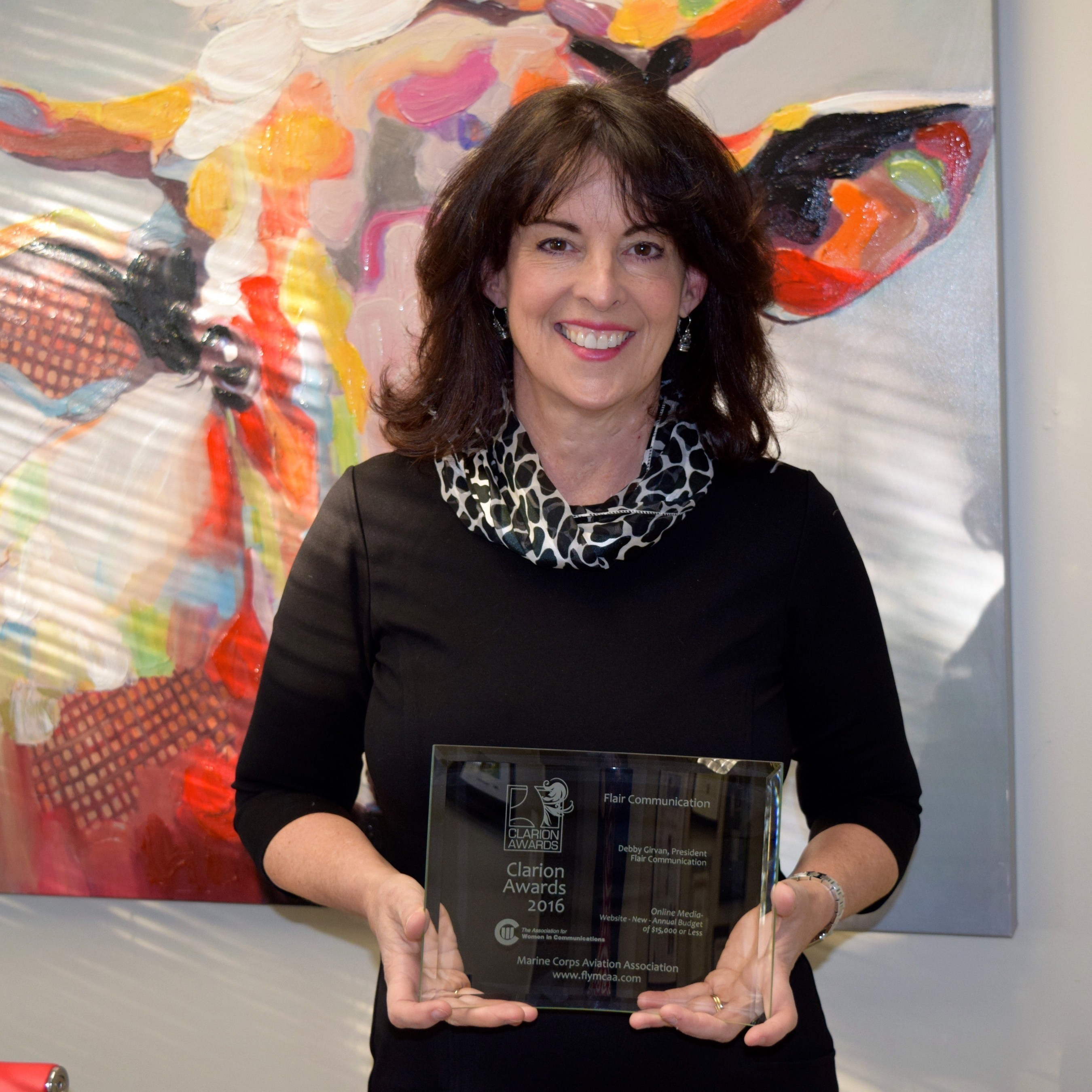 Debby Girvan wins 2016 Clarion Award for her design of a new website for the Marine Corps Aviation Association, ww.flymcaa.org.