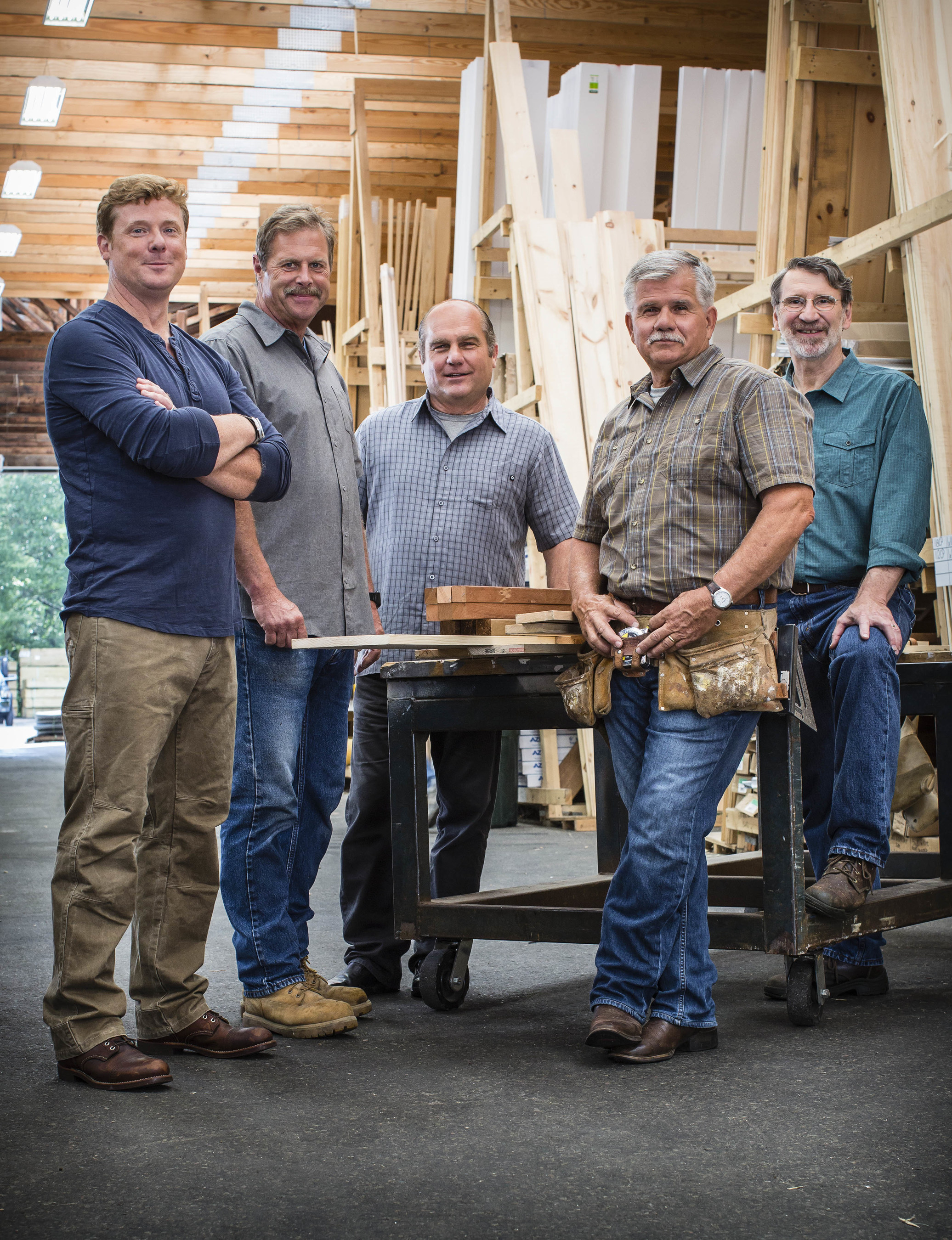 """Cast of new season of """"This Old House,"""" premiering October 1, 2015 on PBS (check local listings). Left to right: Kevin O'Connor, Roger Cook, Richard Trethewey, Tom Silva and Norm Abram. PHOTO CREDIT: Carl Tremblay"""