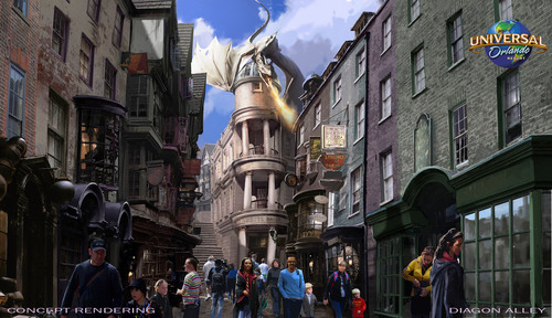 Opening this summer at Universal Studios Florida, The Wizarding World of Harry Potter - Diagon Alley will bring even more of Harry Potter's adventures to life. Guests will pass through London and the iconic brick wall archway from the films into Diagon Alley - a bustling, wizarding hub within a Muggle city. There will be shops, dining experiences, and a new ride called Harry Potter and the Escape from Gringotts - a multi-sensory, multi-dimensional journey that will take theme park attractions to a new level. (C) 2014 Universal Orlando Resort. All rights reserved. (PRNewsFoto/Universal Orlando Resort) (PRNewsFoto/UNIVERSAL ORLANDO RESORT)