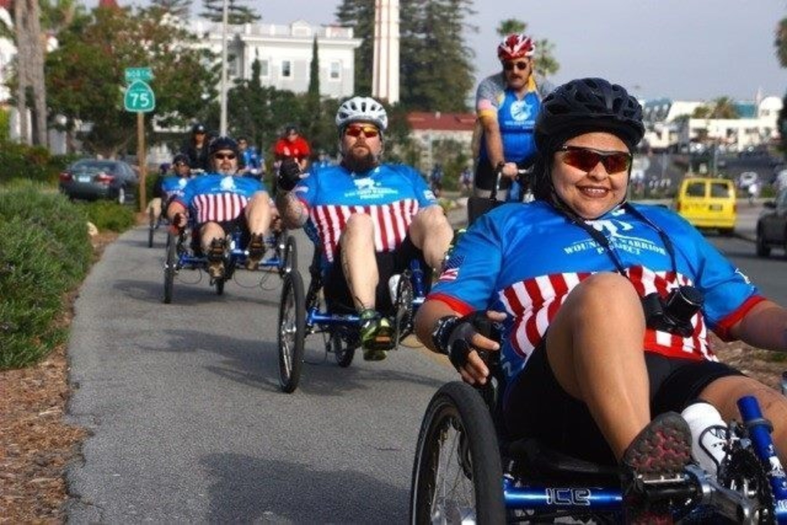Wounded Warrior Project Alumni riding through San Diego.