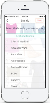 "Shop It To Me for iPhone, ""Select your brands"" screenshot.  (PRNewsFoto/Shop It To Me)"