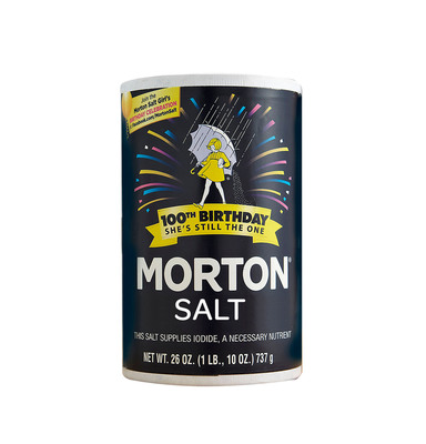 Morton Salt is featuring its refreshed logo with a birthday graphic treatment on its Plain and Iodized culinary salt products in honor of the Morton Salt Girl's 100th Birthday this year. The limited edition packaging will be sold in retail and grocery stores nationwide throughout 2014. (PRNewsFoto/Morton Salt, Inc.) (PRNewsFoto/MORTON SALT, INC.)