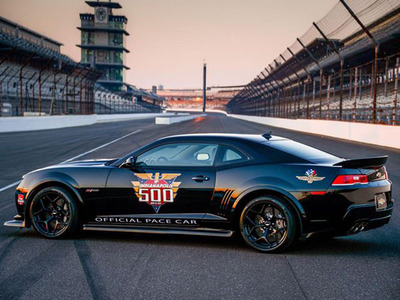 The 2015 Chevy Camaro Z/28 will pace the 2014 Indy 500, marking the eighth time a Camaro has paced the legendary race.  (PRNewsFoto/Bill Jacobs Joliet)