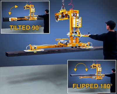 New ANVER Air Powered Vacuum Lifter with 180 degree flip is ideal for lifting, tilting, and flipping long, bulky loads for inspection
