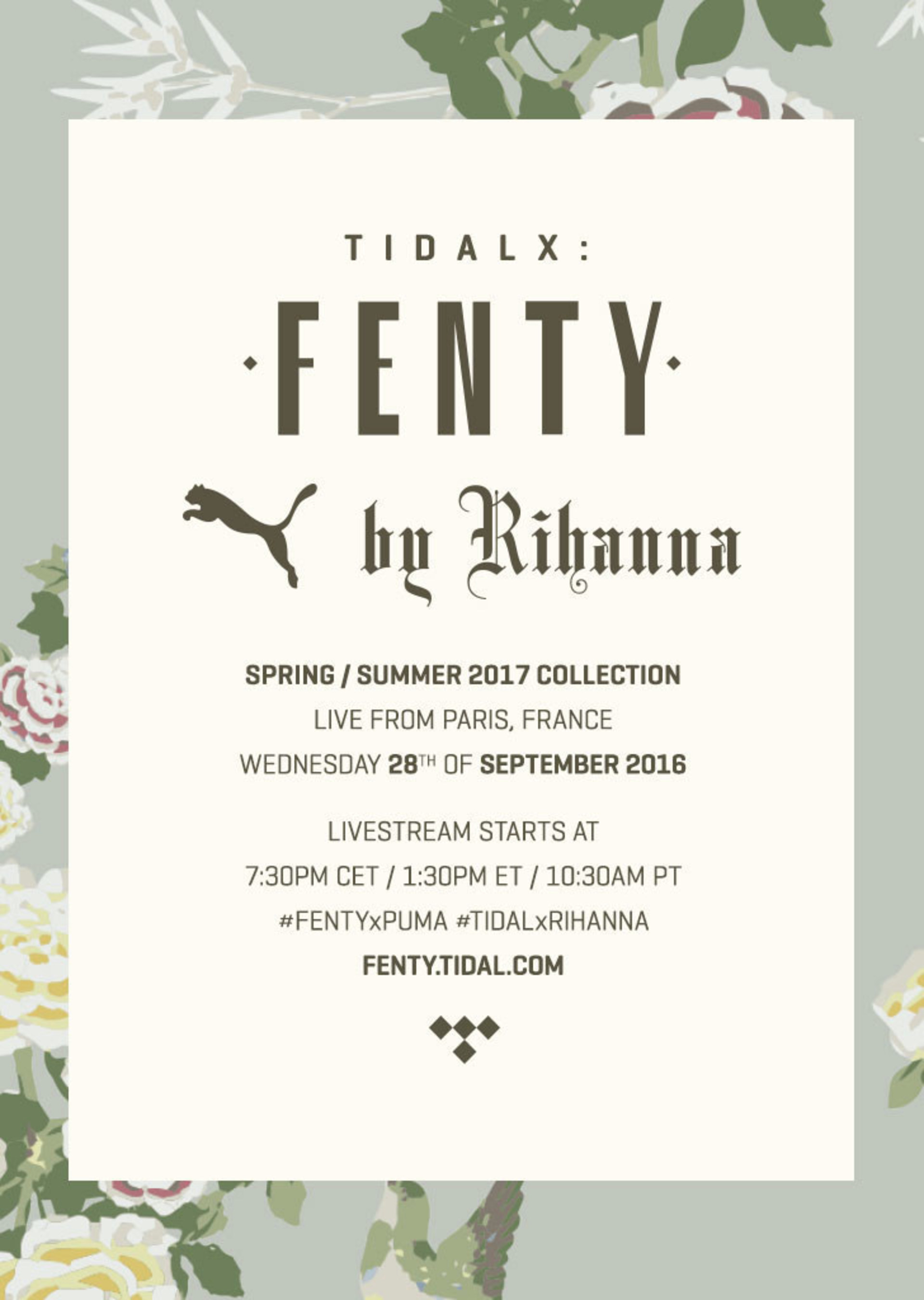 Rihanna partners with TIDAL to give fans worldwide front row access to her next collection on Wednesday, September 28th.
