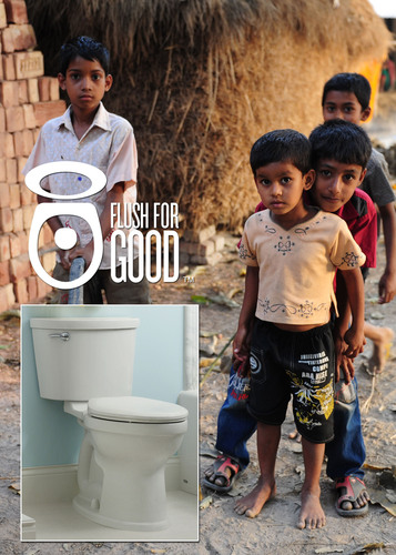 """The American Standard """"Flush for Good"""" campaign donates one SaTo sanitary toilet pan to Bangladesh for ..."""