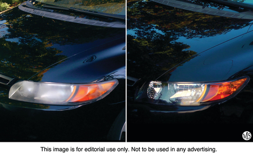 A cloudy headlight (left) and a clear, like-new headlight (right) after treatment with the Philips Headlight ...