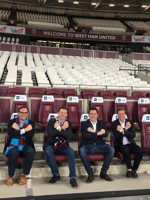 Ocean Holidays' directors celebrate signing three-year partnership deal with West Ham United. L-R Harry Hastings, Daniel Ox, George Hastings, David Ox (PRNewsFoto/Ocean Holidays)