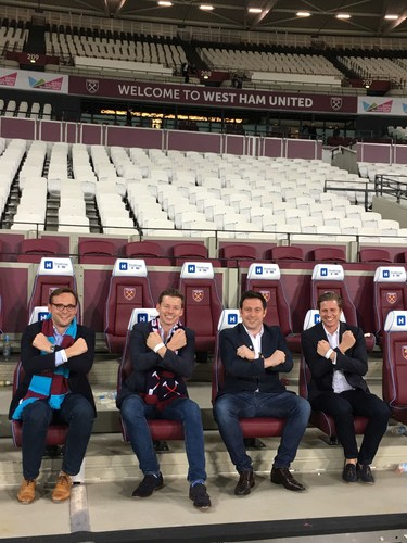 Ocean Holidays' directors celebrate signing three-year partnership deal with West Ham United. L-R Harry ...