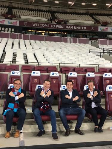 Ocean Holidays' directors celebrate signing three-year partnership deal with West Ham United. L-R Harry Hastings, Daniel Ox, George Hastings, David Ox (PRNewsFoto/Ocean Holidays)