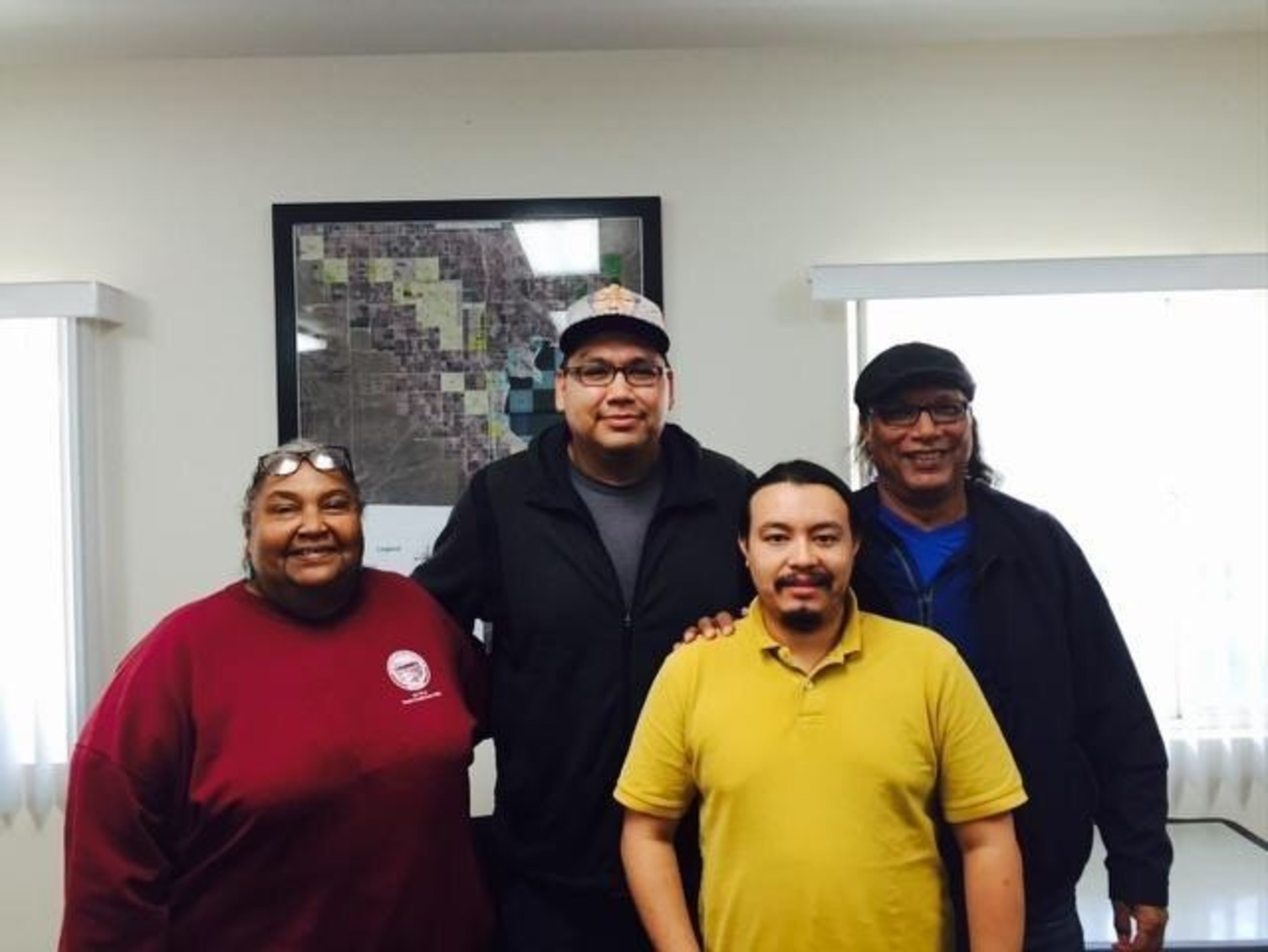Red Crow founders Richard Tall Bear and Rick Hill with Torres Martinez tribal representatives Joseph Mirelez ...