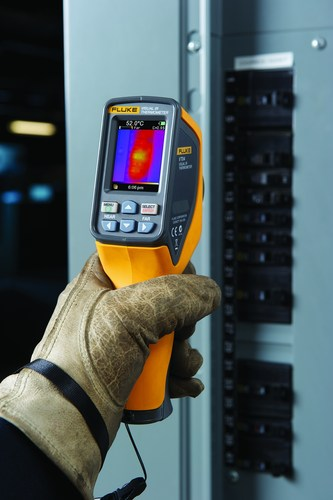 Fluke VT02, VT04, and VT04A Visual IR Thermometers blend a digital image with an infrared heat map overlay to ...