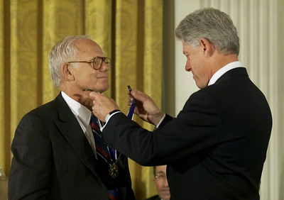 At a White House ceremony on August 9, 2000, President Bill Clinton awarded James E. Burke the Presidential Medal of Freedom, the highest civilian honor in the country. As one of America's most respected corporate leaders of his time, and as an admired leader in the fight against drug abuse, Burke's career came to define modern-day corporate social responsibility, as well as civic responsibility. Burke served as Chairman and CEO of Johnson & Johnson from 1976 to 1989, and then was Chairman of the Partnership for a Drug-Free America from 1989 to 2005. (Photo credit: Associated Press).  (PRNewsFoto/Johnson & Johnson, Associated Press)