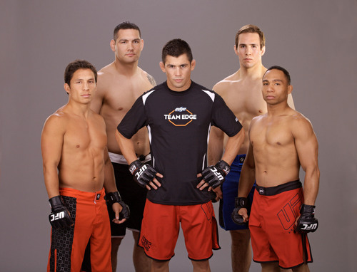 Team Edge (l-r Joseph Benavidez, Chris Weidman, Rory MacDonald, John Dodson) with mentor Dominick Cruz.  (PRNewsFoto/Edge Shave Gel)