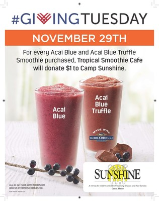 Tropical Smoothie Cafe contributes to Camp Sunshine in honor of #GivingTuesday