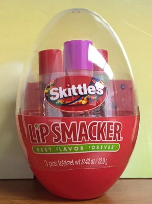 """Pucker up and """"KISS THE RAINBOW, TASTE THE RAINBOW(R)"""" this Easter with new SKITTLES(R) and STARBURST(R) brand flavored Lip Smacker Trios packaged inside colorful plastic eggs. Mars Retail Group paired with Lip Smacker and Markwins to create the four Easter novelties. With a suggested price of $4.95, each festive plastic egg contains three candy-flavored lip balms. Visit the website for more information at www.lipsmacker.com."""