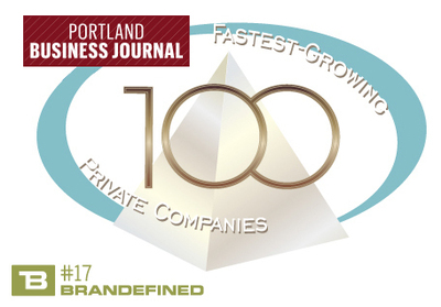 Brandefined ranked #17 on the Portland Business Journal's List of the Top 100 Fastest Growing Private Companies in Oregon. (PRNewsFoto/Brandefined)