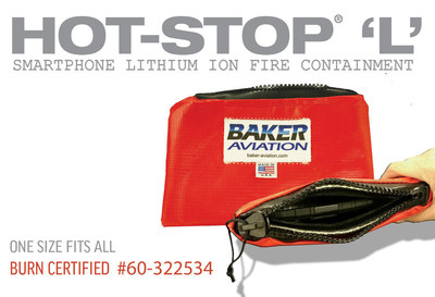 HOT-STOP 'L' Smartphone Fire Containment bags safely contain lithium-ion battery device smoke, fires or explosions that are happening on board aircraft today. These custom designed HOT-STOP 'L' Smartphone bags are burn certified and tested and are small enough to take in your carry-on. They can be used to safely store the device while unattended or contain a full thermal runaway until it is burned out if needed. Fly with confidence, Fly with HOT-STOP 'L'