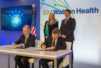 IBM CEO Ginni Rometty and Italian Prime Minister Matteo Renzi witness the signing of an agreement for the planned Watson Health European Center of Excellence in Milan, near the country's Human Technopole Italy 2040 research campus. The agreement was signed during a visit by Prime Minister Renzi to IBM's new Watson Health global headquarters in Cambridge, MA. Seated from left to right: Erich Clementi, SVP, IBM Europe; Hon. Ivan Scalfarotto, Undersecretary at Italian Presidency of Council. Standing from left to right: Ginni Rometty, Chairman, President and CEO, IBM; Hon. Matteo Renzi, Prime Minister of Italy. (Photo copyright: Daniel Goodrich)