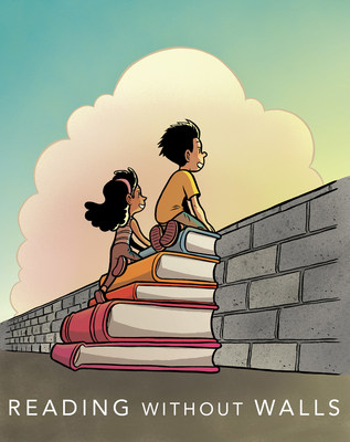 Reading Without Walls, the official graphic for the 2016 - 2017 National Ambassador for Young People's Literature, (c) Gene Luen Yang; color by Lark Pien