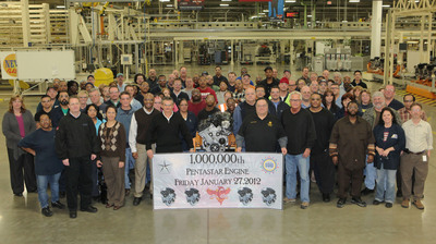 Celebrating One Million Engines -- Employees from Chrysler Group's Trenton (Mich.) South Engine Plant take a moment to celebrate the 1 millionth Pentastar V-6 engine produced by Chrysler. Since its introduction 18 months ago, the most advanced V-6 engine ever produced by the automaker is now standard or available in 11 models. The engine also is produced in Saltillo, Mexico.  (PRNewsFoto/Chrysler Group LLC)