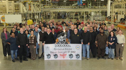 Celebrating One Million Engines -- Employees from Chrysler Group's Trenton (Mich.) South Engine Plant take ...