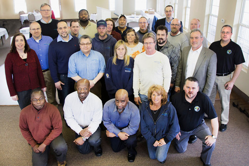 Consumers Energy's natural gas employees who assisted in the response to Superstorm Sandy in November 2012 are joined by Utility Workers Union of America and company leadership at an employee recognition event Friday, March 1, 2013 near Lansing, Mich. to thank them for their mutual aid assistance. Each employee received specially designed American Gas Association (AGA) medallions in recognition of their exceptional service.  (PRNewsFoto/Consumers Energy)