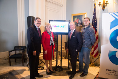 At the Oklahoma State Capitol, Cox announced the launch of its gigabit Internet service for residential customers. Pictured are Cox Central Region SVP & Region Manager Percy Kirk, Oklahoma Governor Mary Fallin, Oklahoma City Mayor Mick Cornett and Capt. Jim Miller, First Gigablast customer in Oklahoma.