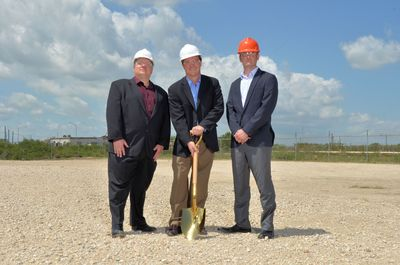 GEO Vice President Scot Lang, Water Treatment Chemicals Division, holding shovel, with employees Chris Miller (l) and Derek Linder (r). (PRNewsFoto/GEO Specialty Chemicals, Inc.)