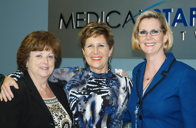 Medical Staffing Network and KOOL 105.5 February Nurse of the Month Winner Jane Senick, RN (C) is Presented Prizes by MSN CNO Patricia Layton, RN (L) and VP of Human Resources Kim Jones (R) at the Company's Headquarters in Boca Raton, Fla.  (PRNewsFoto/Medical Staffing Network Healthcare, LLC)