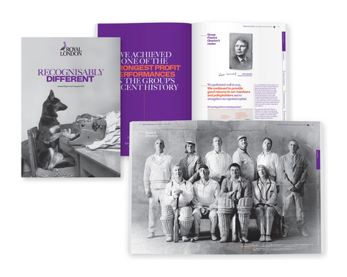 Supporting their 'British eccentricity' positioning, the design outlined the new strategy and communicated its benefits. At the same time, changes to the legal regulations regarding annual reports and Royal London's desire to conform to the best practice of listed companies, required our in-depth knowledge, understanding, and advice on how a report should be structured and written to meet these needs. (PRNewsFoto/Rare) (PRNewsFoto/Rare)