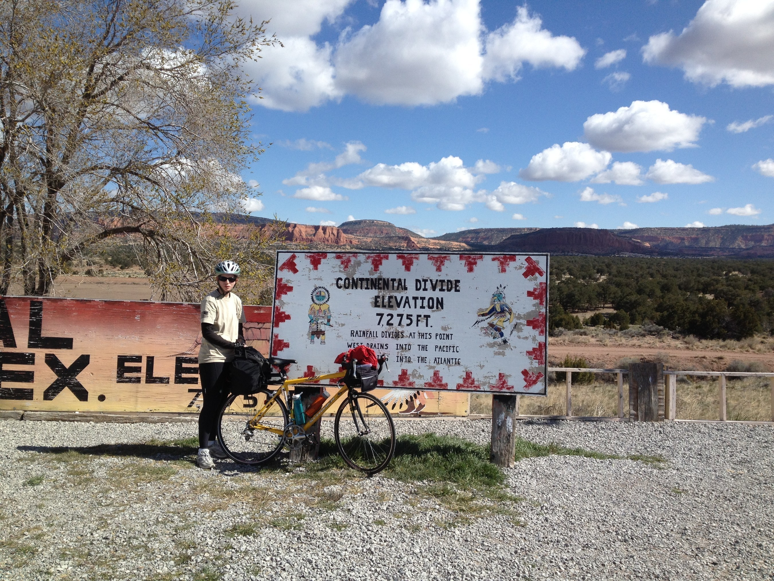 Patricia Waiwood at the Continental Divide during her CA to NY ride in 2014