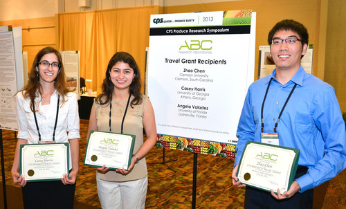 The 2013 ABC Research Laboratories Research Travel Grant Recipients: Casey Harris, Masters Student, Odum School of Ecology, University of Georgia; Angela Valadez, Ph.D. Candidate, Food Science & Human Nutrition, University of Florida; Zhao Chen, ...