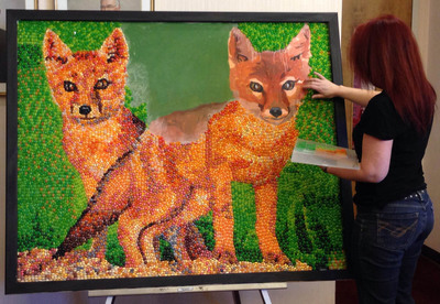 Jelly Belly Artist, Kristen Cumings working on the Swift Foxes, the latest addition to the Endangered Species Series.  (PRNewsFoto/Jelly Belly Candy Company)