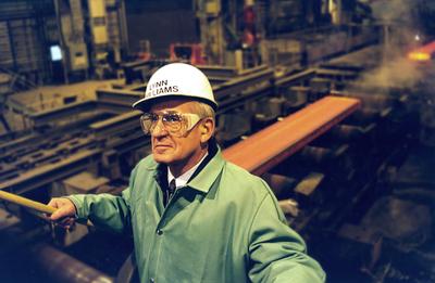 Retired USW International President Lynn R. Williams in a steel mill. (PRNewsFoto/United Steelworkers )