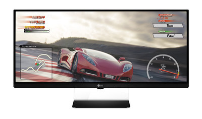 """LG Electronics (LG) today announced plans to introduce the world's first 21:9 """"UltraWide"""" gaming monitor compatible with AMD FreeSync technology for fluid motion during fast gameplay. The UltraWide Gaming Monitor (34UM67) headlines LG's expanded lineup being unveiled next week at the 2015 International CES? and is the company's first 21:9 monitor specifically developed for graphics-intensive gaming."""