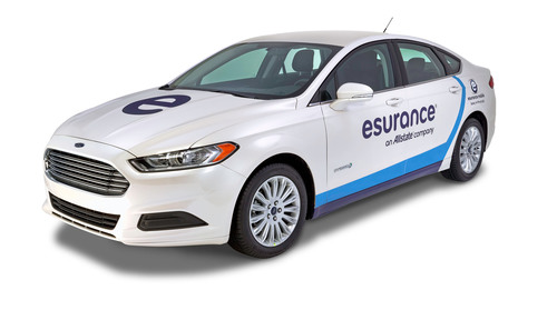 The Esurance claims team drives to the moon and back twice every year. Now they'll do it in the 2013 Ford Fusion Hybrid. Insurance for the Modern World.  (PRNewsFoto/Esurance)