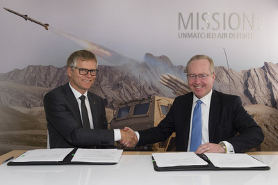 Dr. Tom Kennedy, Raytheon Chairman and CEO, and Harald Annestad, CEO KONGSBERG Defence & Aerospace AS, signed a 10-year agreement to extend their partnership on NASAMS.