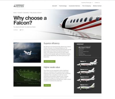 The new Dassault Falcon global website.